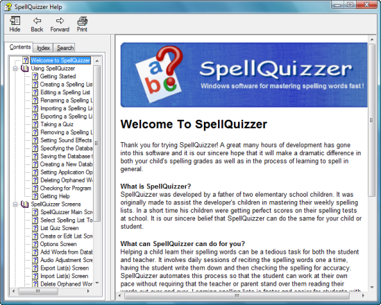 SpellQuizzer help screen